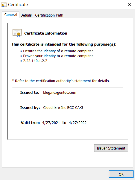 The certificate of this very website.