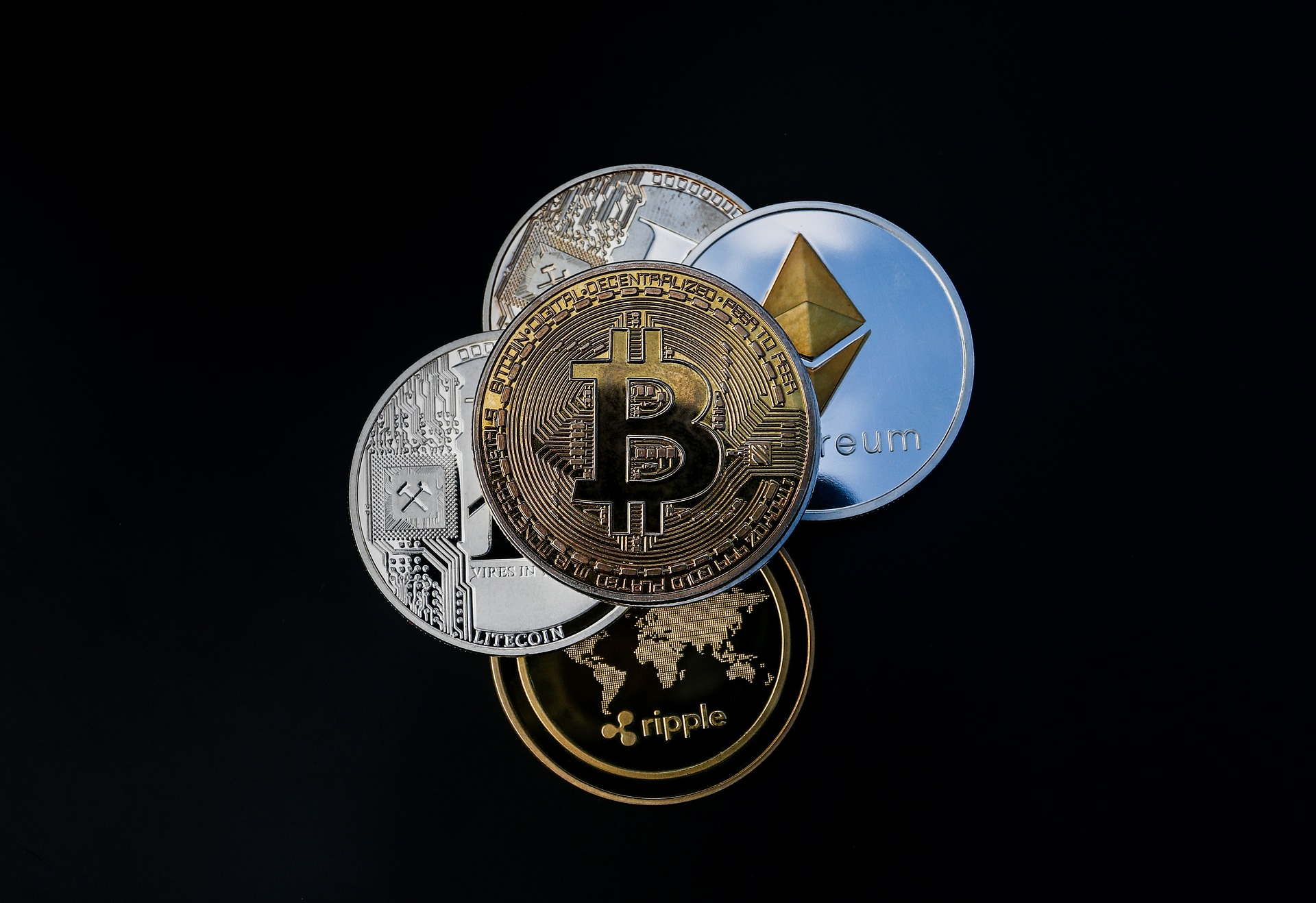 An image of several cryptocurrencies like Bitcoin, Ethereum, Litecoin, etc.
