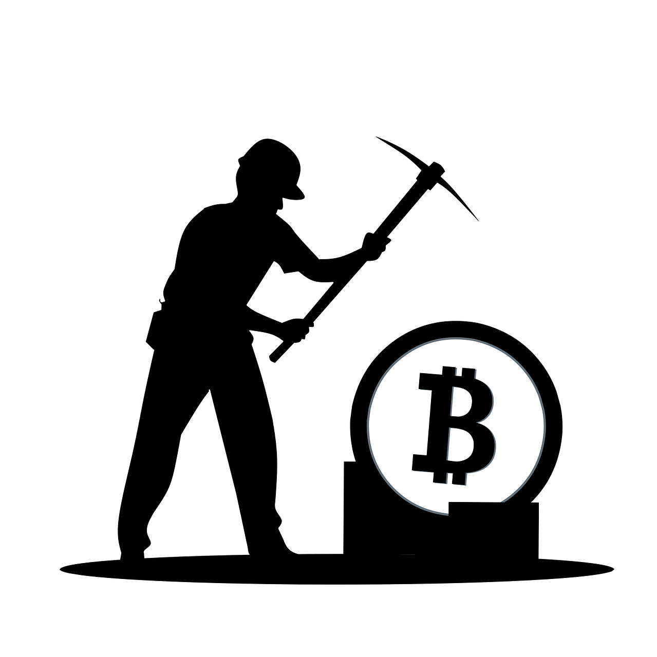 Silhouette of a man mining Bitcoin.