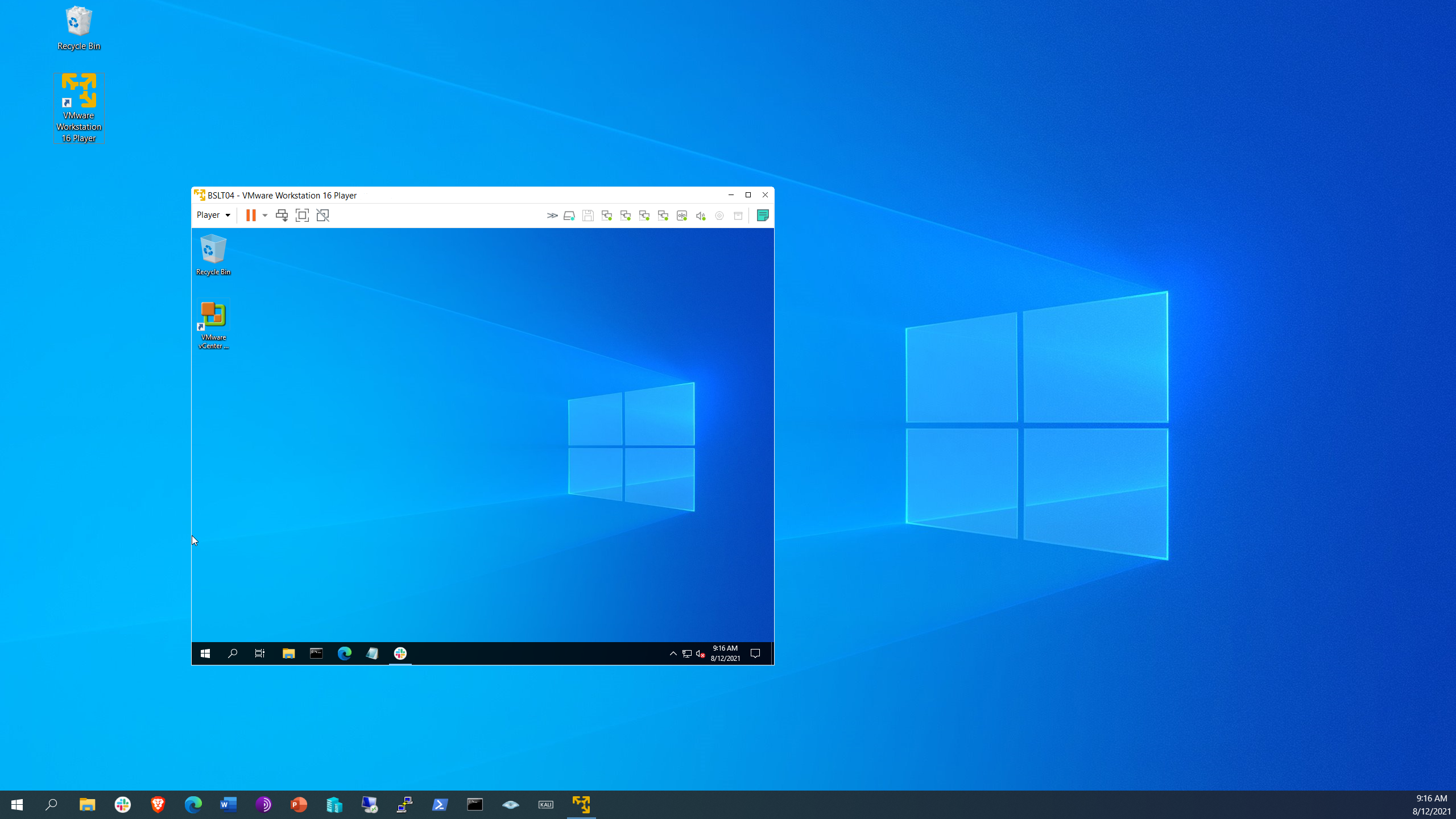 Here is my virtualized laptop running on my physical desktop.