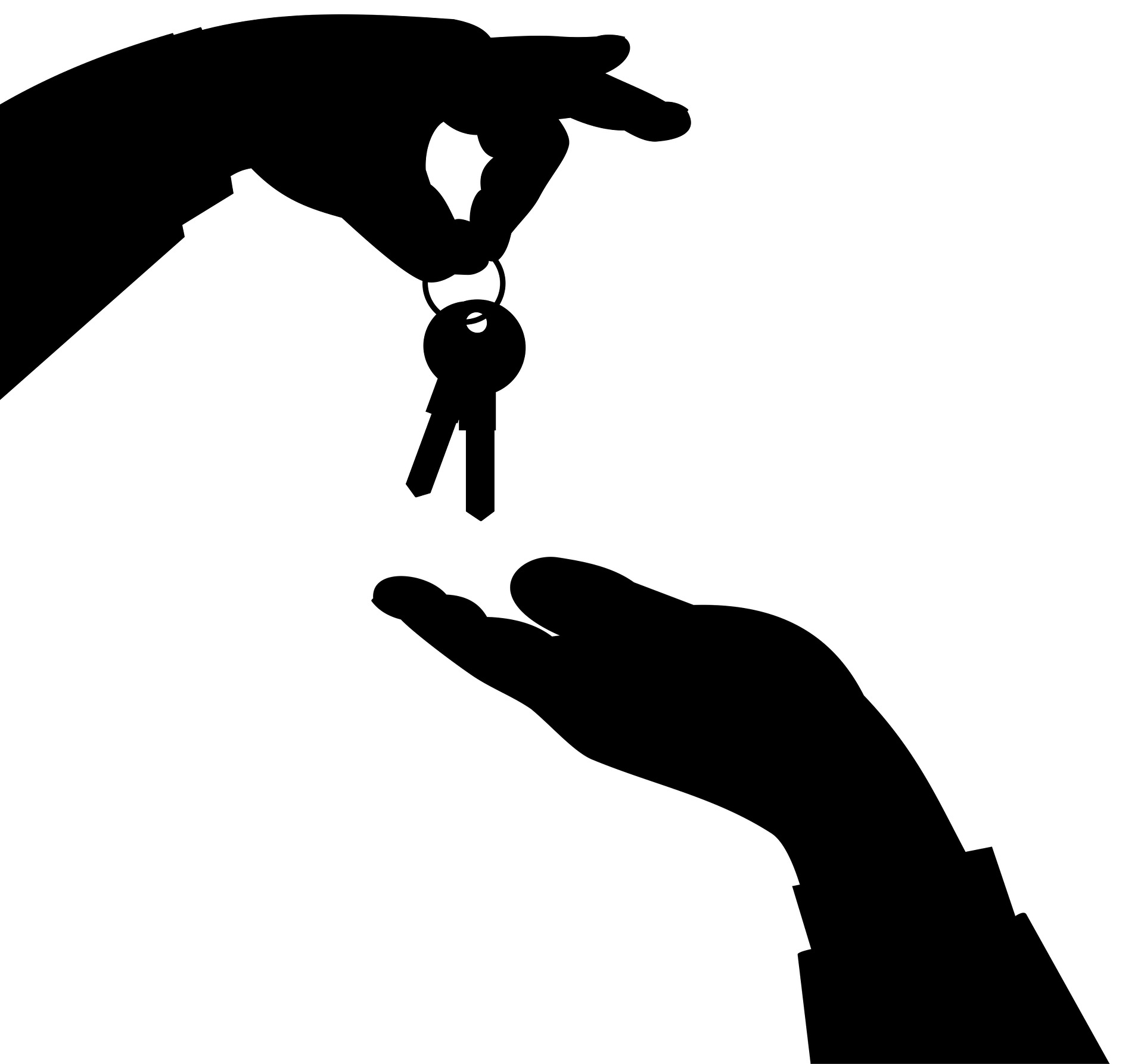 A silhouette of one person handing keys over to another.