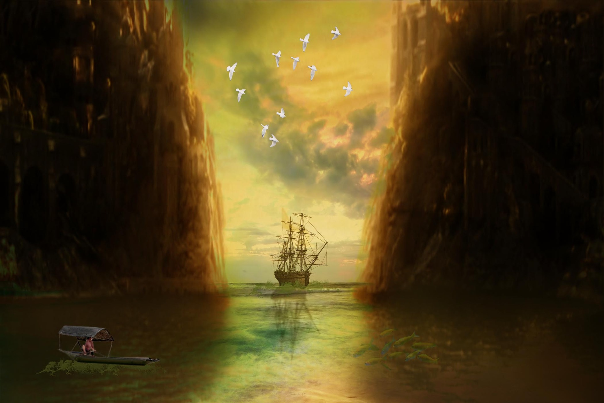 In this image, a ship navigates past two cliff faces to head out into the open sea--much like Theseus now sets sail for the open internet.